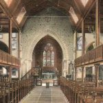 Postcard of the interior of St Leonard's in the early C20th, Misch & Stock